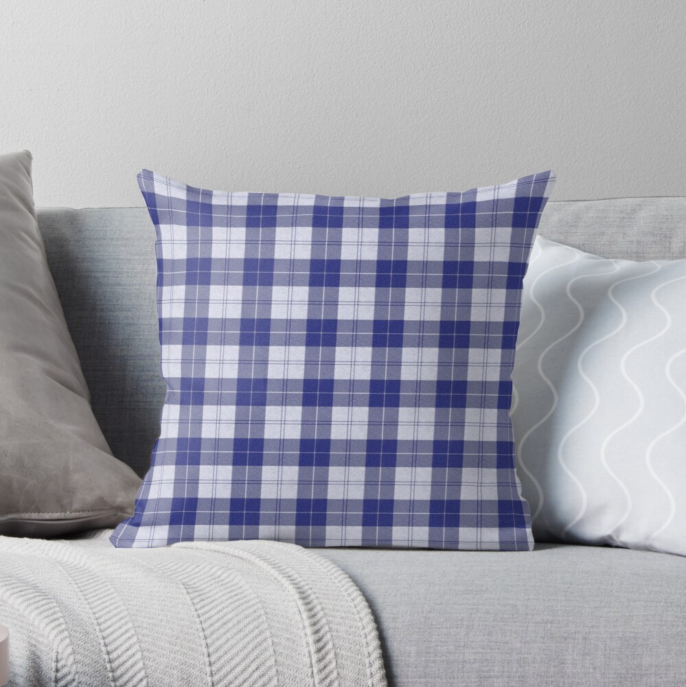 Rich Tartan - Blue / White Throw Pillow