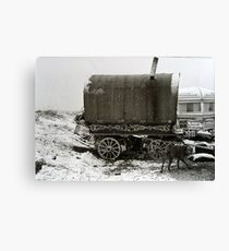 Vardo and Lurcher on a Gypsy Site in Yorkshire Canvas Print