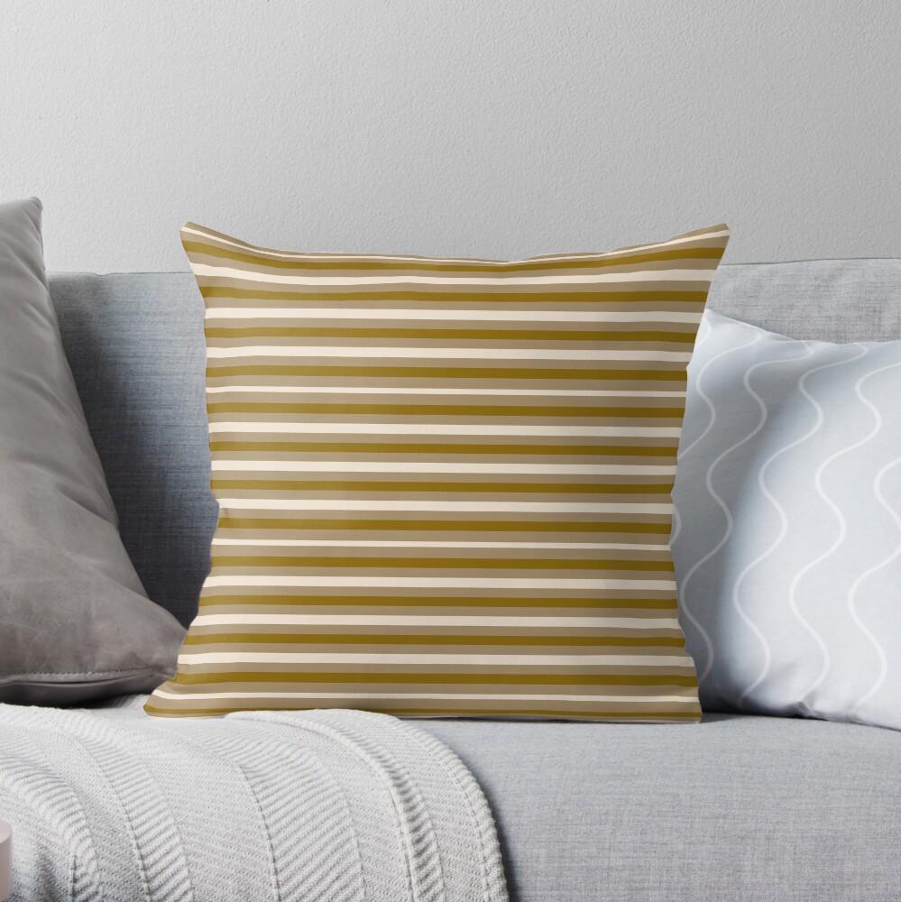 Dinner Stripes - Yellow Orange Throw Pillow