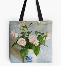 Pink roses in blue and white jug Tote Bag