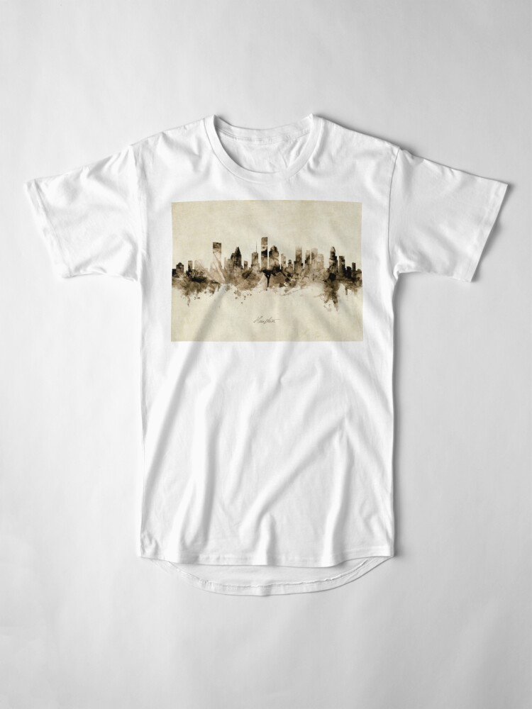 Alternate view of Houston Texas Skyline Long T-Shirt