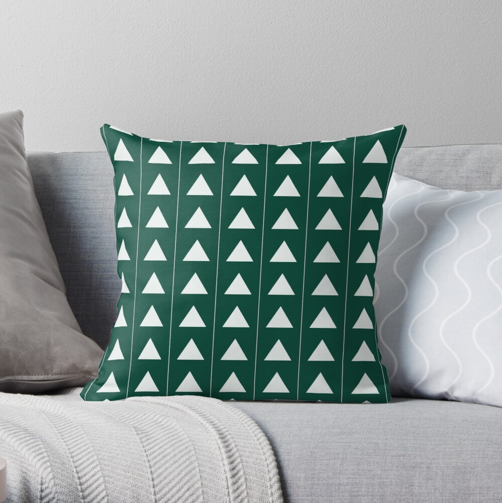 Pyramid Triangles - Turquoise Green Throw Pillow