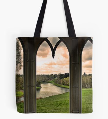 Lake view from Gothic Temple Tote Bag