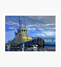 Tug boat in the rain Photographic Print