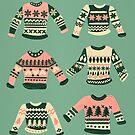 Weihnachtsstrickjacken - Vintage Blush Mint Palette von Cat Coquillette