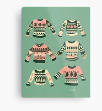 Weihnachtsstrickjacken - Vintage Blush Mint Palette Metallbild