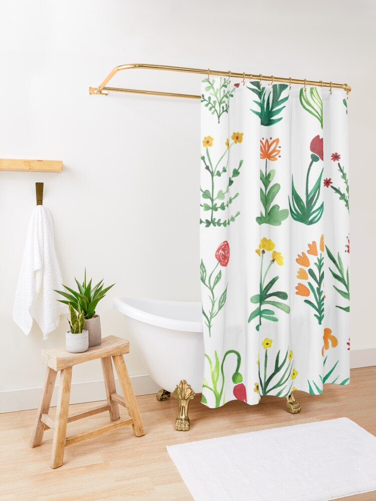 Alternate view of Herbarium flower dream Shower Curtain