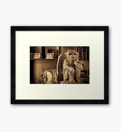SEPIA GARGOYLE . Framed Print