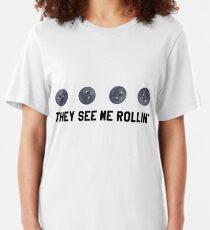 They See Me Rollin' Black Moon Emoji Trendy/Hipster/Tumblr Meme Slim Fit T-Shirt