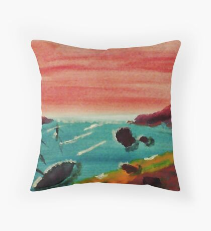 Boat Tied Up in Cove, watercolor Throw Pillow