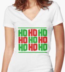 HO HO HO merry christmas  Women's Fitted V-Neck T-Shirt