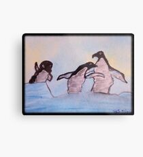 Penguins' Dancing On Ice Metal Print