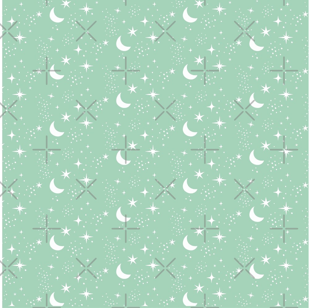 Moon and stars, green, mint by ColorsHappiness