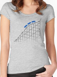 I'm On a Roller Coaster That Only Goes Up (Blue Cars) Women's Fitted Scoop T-Shirt