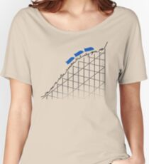 I'm On a Roller Coaster That Only Goes Up (Blue Cars) Women's Relaxed Fit T-Shirt