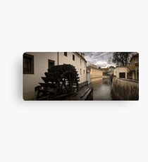 Prague water canal Canvas Print