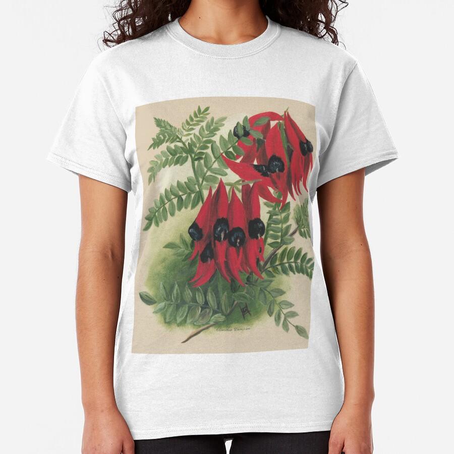 Western Australia wild flower Sturt's Desert Pea - Clianthus Dampieri State Library of Western Australia Classic T-Shirt