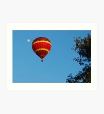 Red Balloon and the moon Art Print
