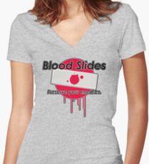 Blood Slides  Women's Fitted V-Neck T-Shirt