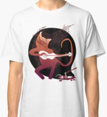 cute singing cat with a guitar after hunting Classic T-Shirt