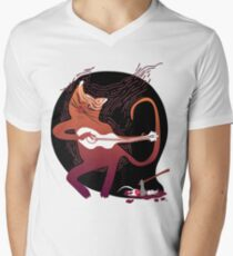 cute singing cat with a guitar after hunting Men's V-Neck T-Shirt