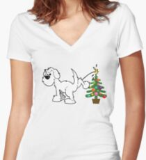 Merry Christmas love DOG Fitted V-Neck T-Shirt