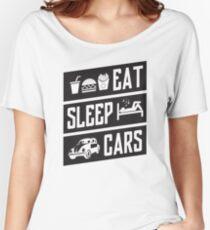 eat sleep cars Women's Relaxed Fit T-Shirt
