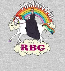 Rainbow I Believe In RBG Ruth Riding Unicorn Kids Pullover Hoodie