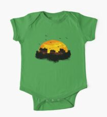 Cool Sunset - City Skyline - Cute Birds One Piece - Short Sleeve