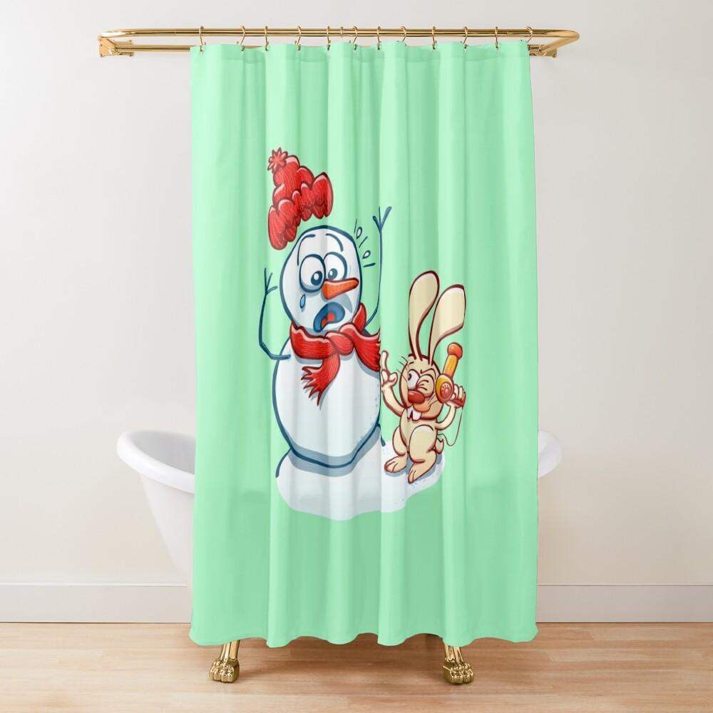 Mischievous bunny threatening Xmas snowman with a hair dryer Shower Curtain