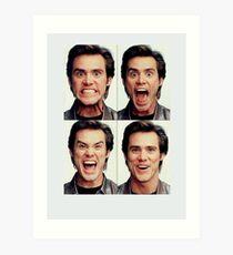 Jim Carrey faces in color Art Print