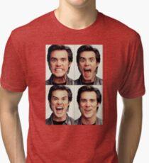 Jim Carrey faces in color Tri-blend T-Shirt