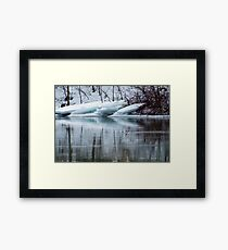 Bufflehead Duck and Ice Formation, Niagara River, Ontario Framed Print