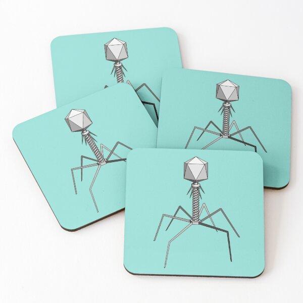 T4 bacteriophage virus Coasters (Set of 4)
