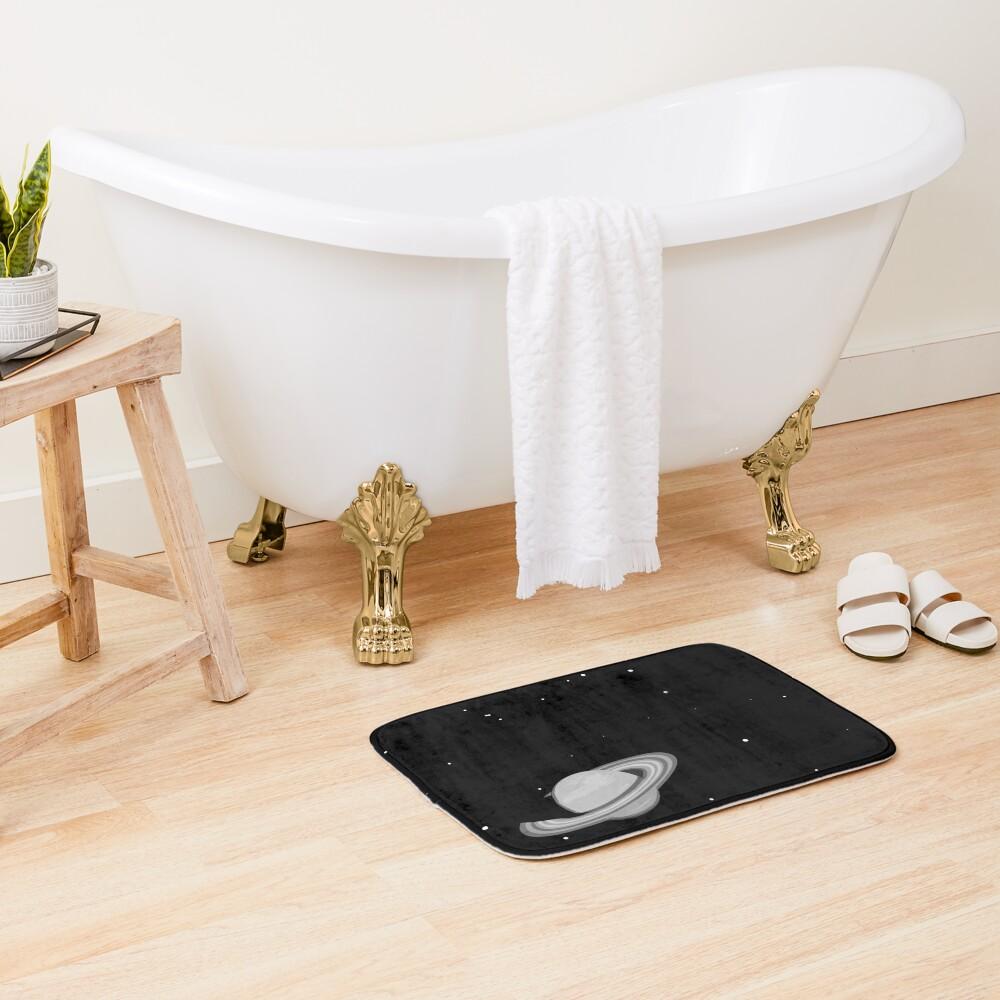 Black and White Saturn Bath Mat