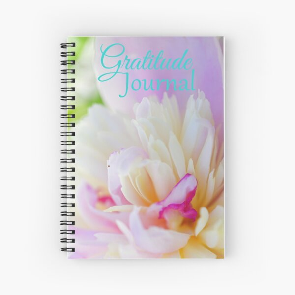 Gratitude Journal - Pink and white peony flower Spiral Notebook