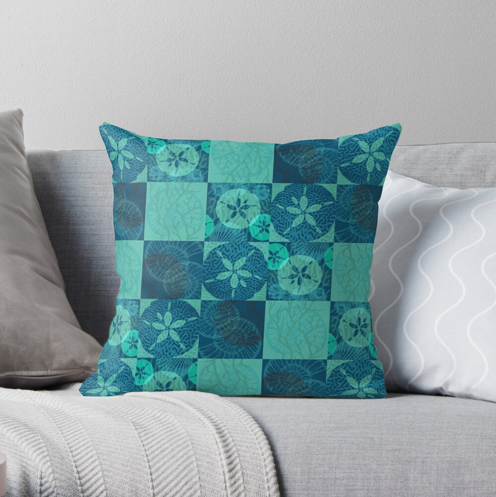Beachy Sand Dollars Seashells and Coral Patchwork Pattern Throw Pillow