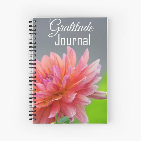 Gratitude Journal - Peach color dahlia flower Spiral Notebook