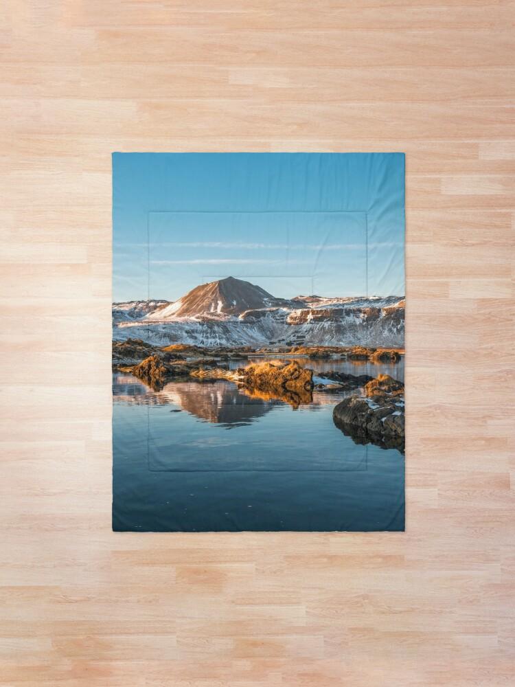 Alternate view of Winter landscape in Iceland II Comforter