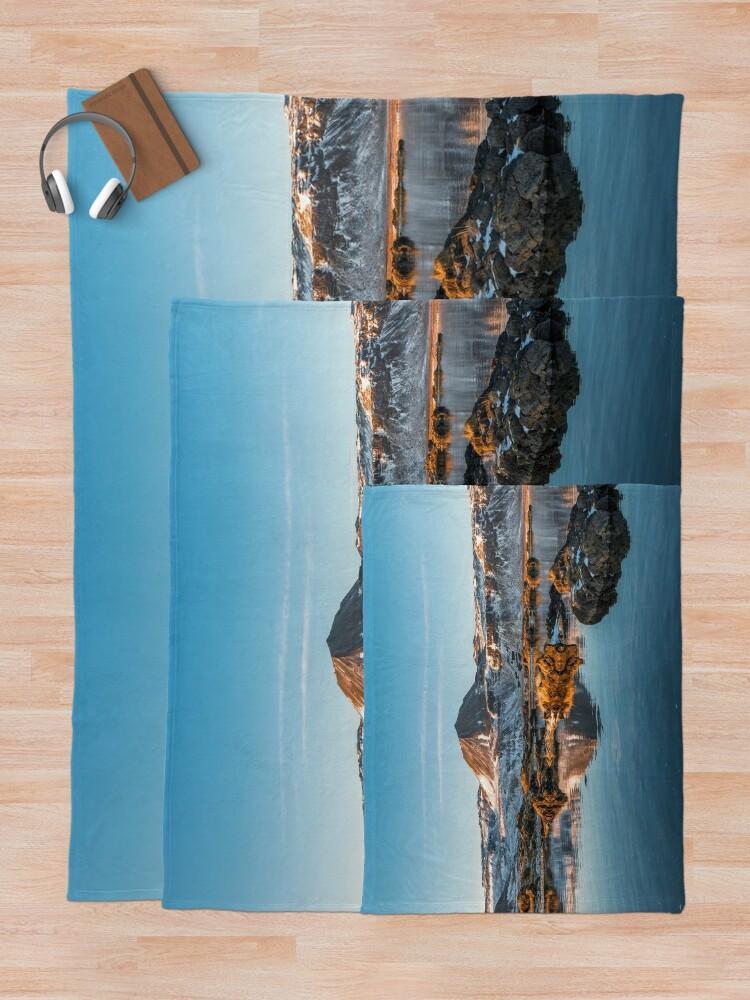 Alternate view of Winter landscape in Iceland II Throw Blanket
