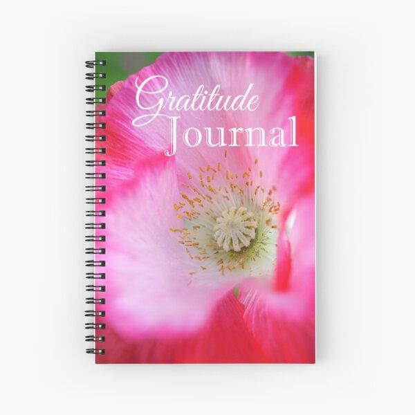Gratitude Journal - Pink and red poppy flower Spiral Notebook