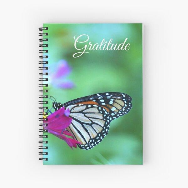 Gratitude - Monarch Butterfly on Magenta Cosmos Flower Spiral Notebook