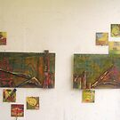 Untitled (yellow) 1 & 2 mixed media 2011 by fatchickengirl