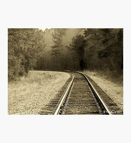 Just Around The Bend - Train Track In Sepia Photographic Print