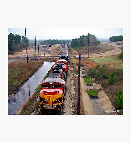 Lines And Curves - Locomotive Lines and Landscape Curves Photographic Print