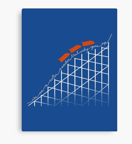 I'm On a Roller Coaster That Only Goes Up (Orange Cars) Canvas Print