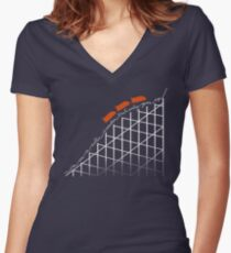 I'm On a Roller Coaster That Only Goes Up (Orange Cars) Women's Fitted V-Neck T-Shirt