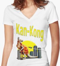 kan-kong Women's Fitted V-Neck T-Shirt