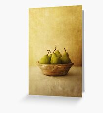 Pears in a wooden bowl Greeting Card
