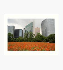 Orange Flowers in Tokyo City - Ginza Area Impression artistique